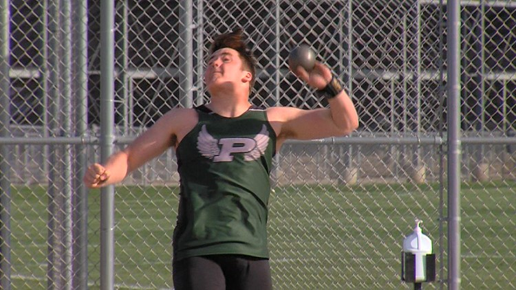 Pella's Kody Huisman working to fine-tune his shotput