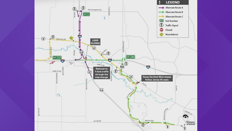 Iowa City construction: Alternate routes for Hawkeye game days