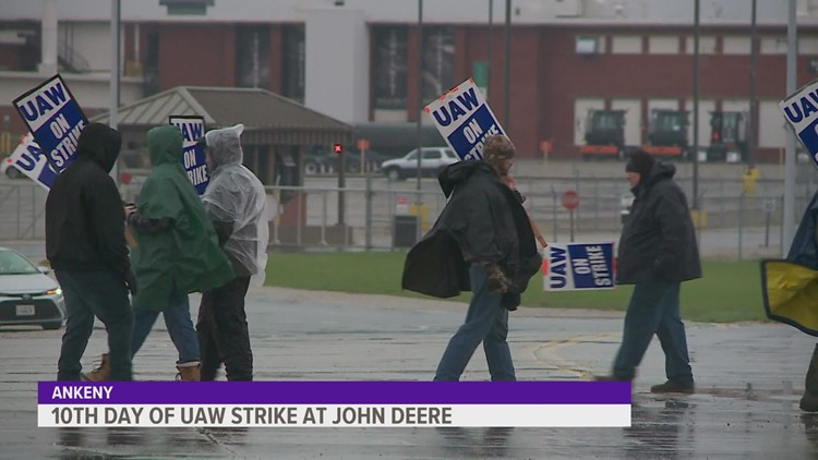UAW picketers brave the rain on 10th day of John Deere strike