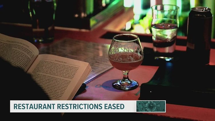 Restaurant capacity increased with COVID-19 restrictions eased