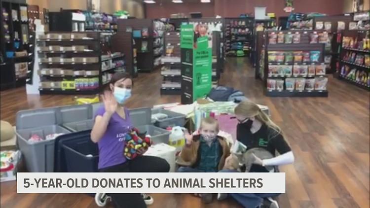 5 year old boy donates to shelter animals