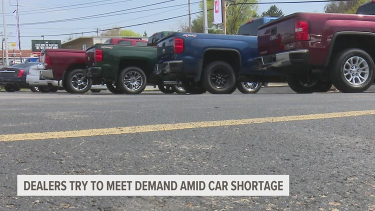 Car dealerships struggle to meet demand due to the global microchip shortage