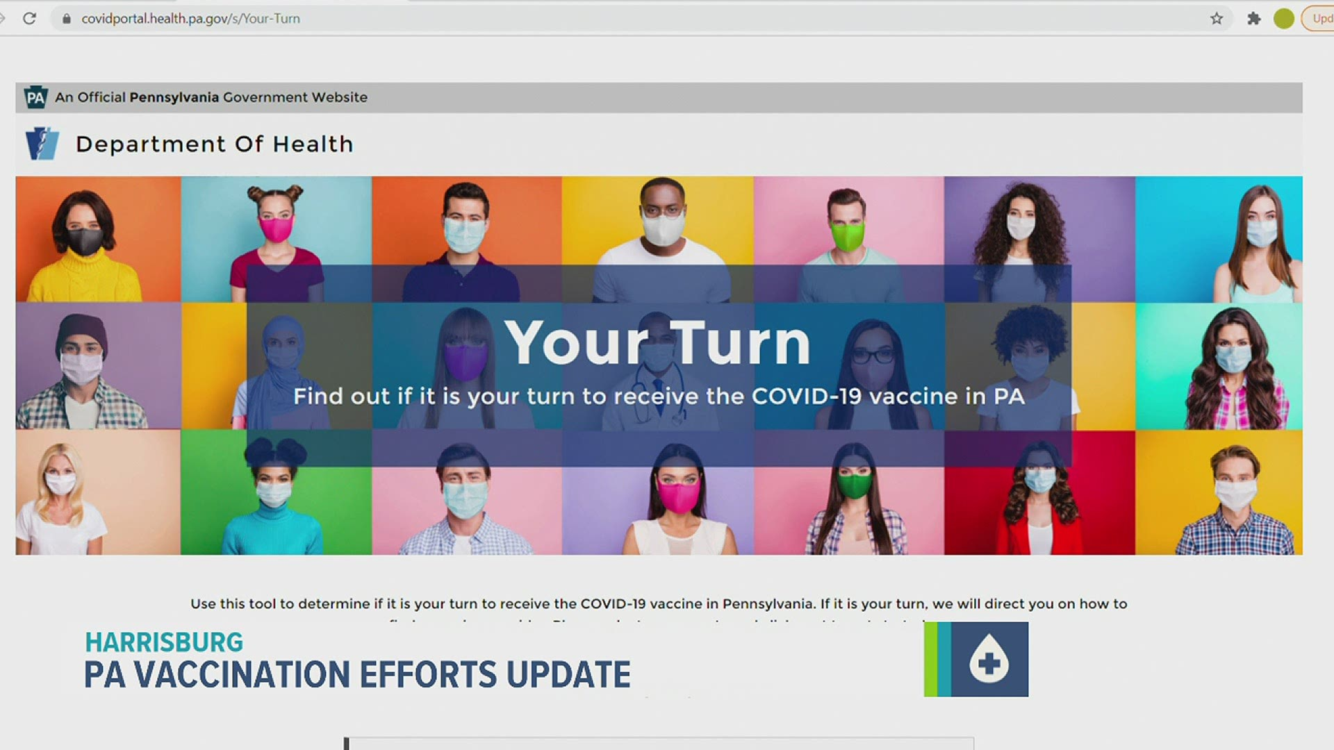 Pa Dept Of Health Launches New Your Turn Website To Help Residents Understand Where They Fall In The Covid 19 Vaccine Prioritization Effort Fox43 Com