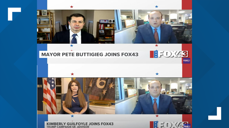 FOX43 speaks with Pete Buttigieg, Kimberly Guilfoyle, as Biden, Trump campaigns get out Election Day vote