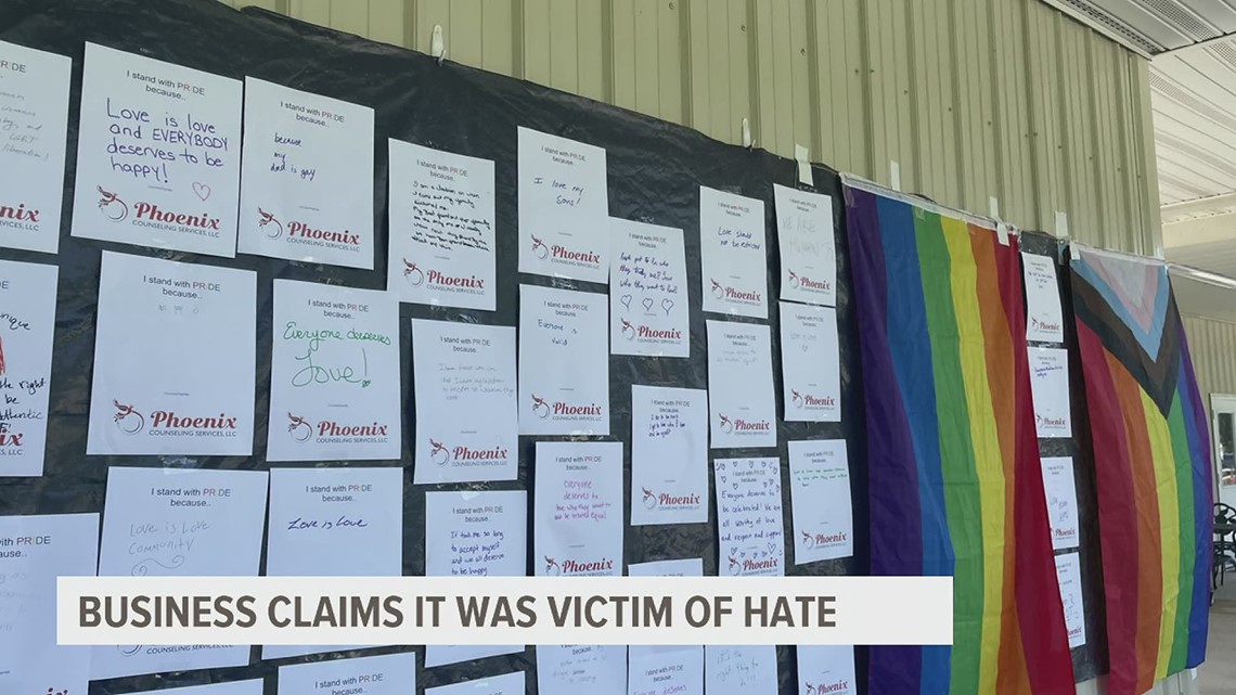 A Gettysburg business says it's choosing love over hate after having their business vandalized with graffiti