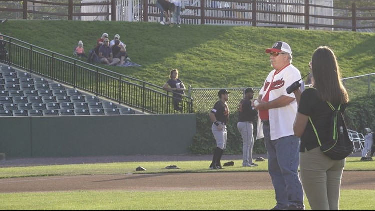 Lancaster native throws first pitch at Lancaster Barnstormers home game for the 20th year of remembrance of 9/11