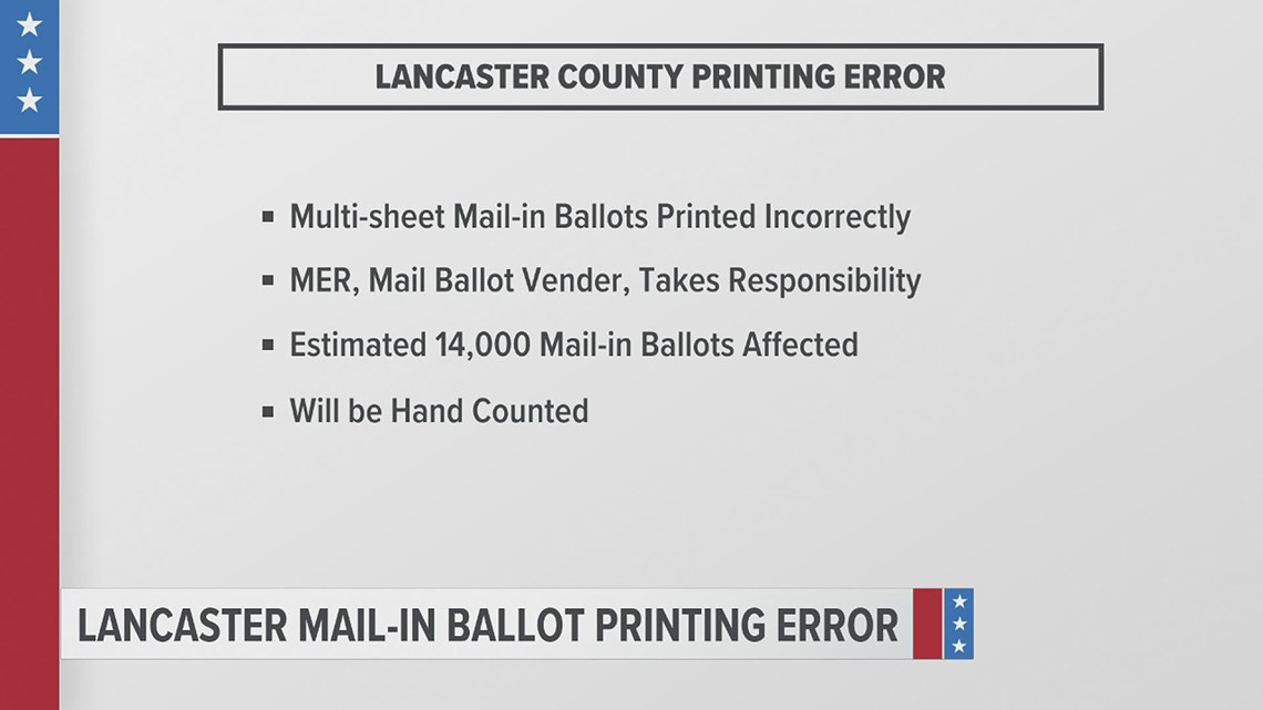Lancaster County Board of Elections: Printing error on mail-in ballots causes issue with scanning machines