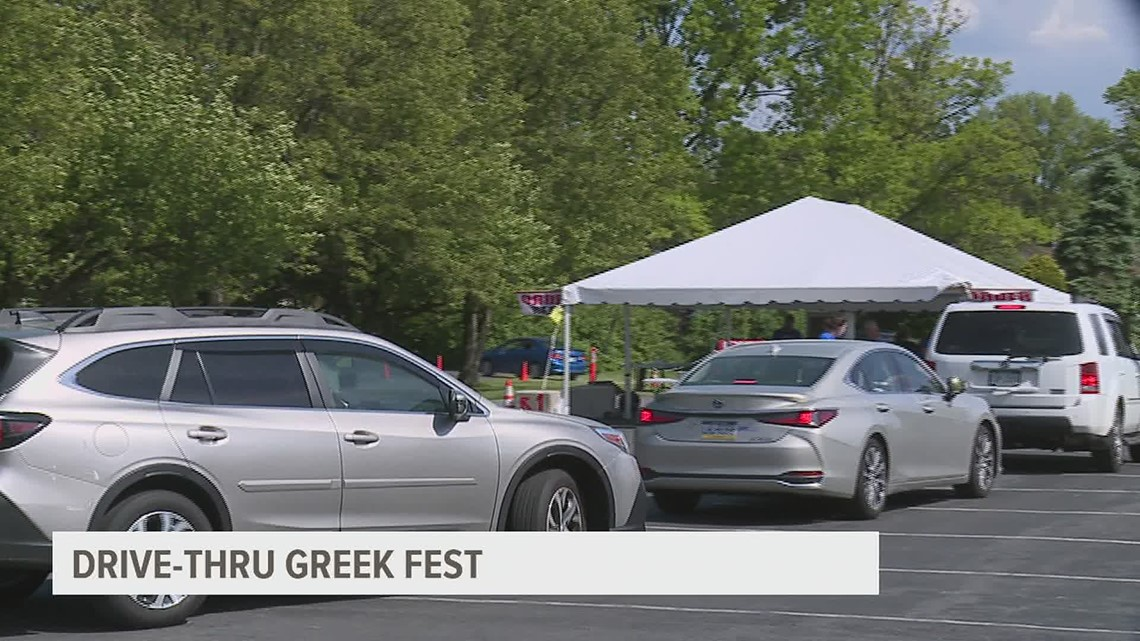 Cars lined up in Cumberland County for a drive-thru version of the annual Greek Fest