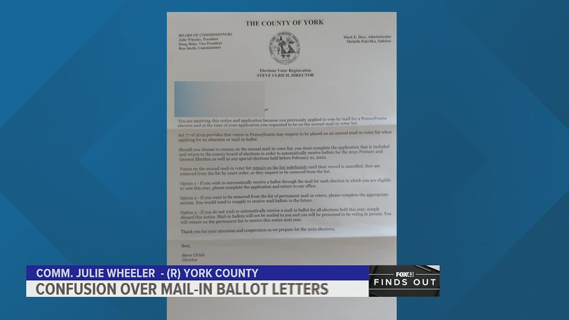 Letters about mail-in ballots are leaving voters confused | FOX43 Finds Out