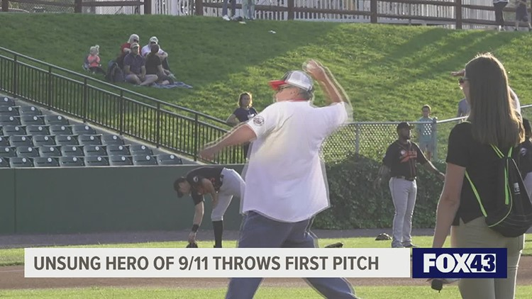 Former air traffic controller throws first pitch at Lancaster Barnstormers game vs Long Island Ducks