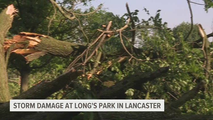City officials describe storm damage to Long's Park in Lancaster County
