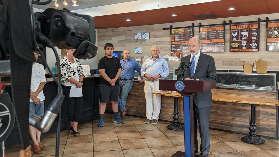 Restaurant owner announces $15 an hour pay plus tips for staff during news conference with Wolf Administration