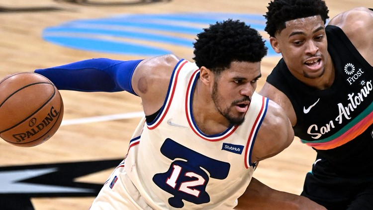 Embiid, Sixers escape short-handed Spurs in OT, 113-111