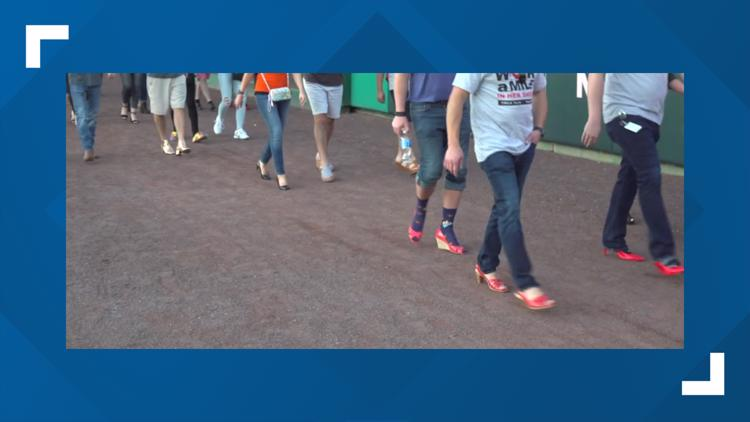 Members of the community walked a mile in high heels in York County to take a stand against domestic violence