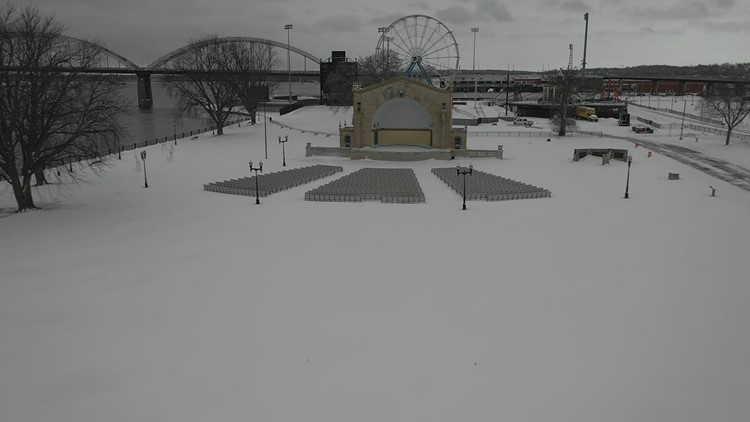 Watch: A fresh snowfall covers LeClaire Park in Davenport, as seen by the News 8 Drone
