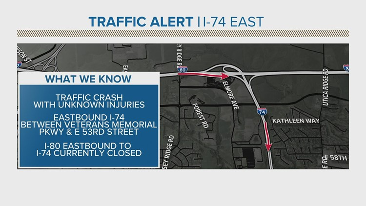 Parts I-74 shut down after accident Monday morning