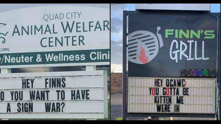 Finn's Grill raises money for Quad City Animal Welfare Center through sign war