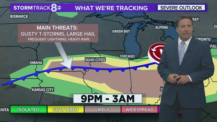 Scattered strong storms for areas south of the Quad Cities later tonight