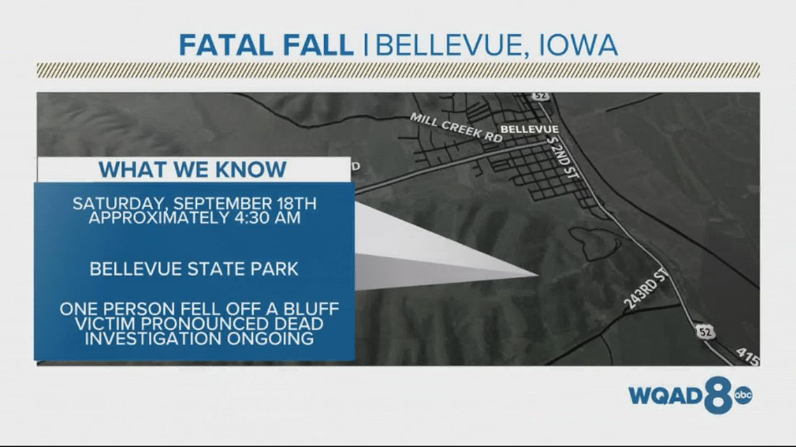 Deadly fall off bluff at Bellevue State Park