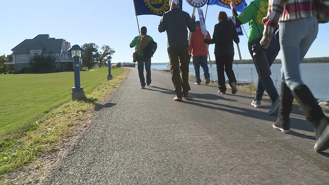 UAW John Deere strikers walk almost six miles to show support