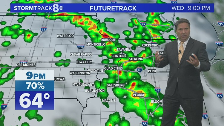 Scattered showers with a  few storms mixed in for Wednesday