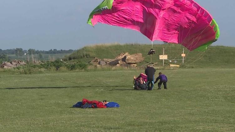 90 year old man celebrates birthday skydiving