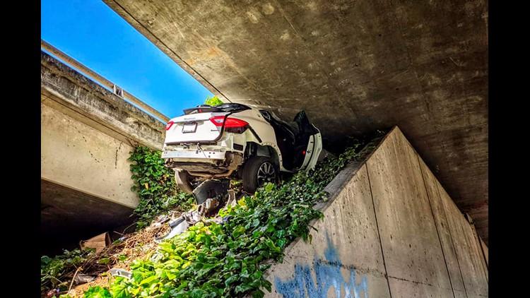 Man survives after wedging Maserati under California freeway while fleeing police