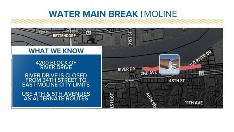 Portion of Moline's River Drive closed due to water main break