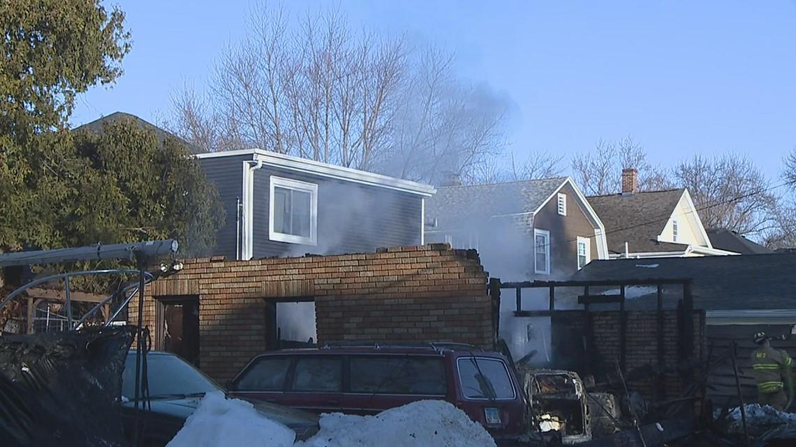 Crew battle flames Saturday morning at Moline garage