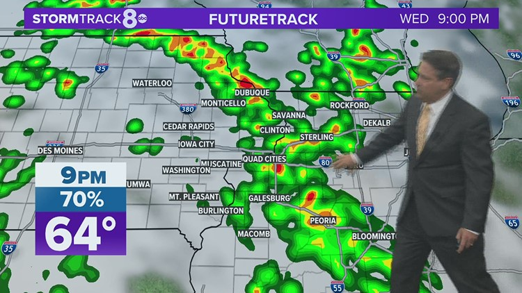 Showers, a few thunderstorms on track for Wednesday