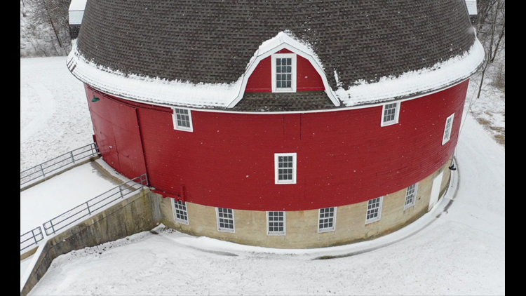 Beauty in all seasons: Watch the drone views of Ryan's Round Barn in Kewanee morph from winter to summer