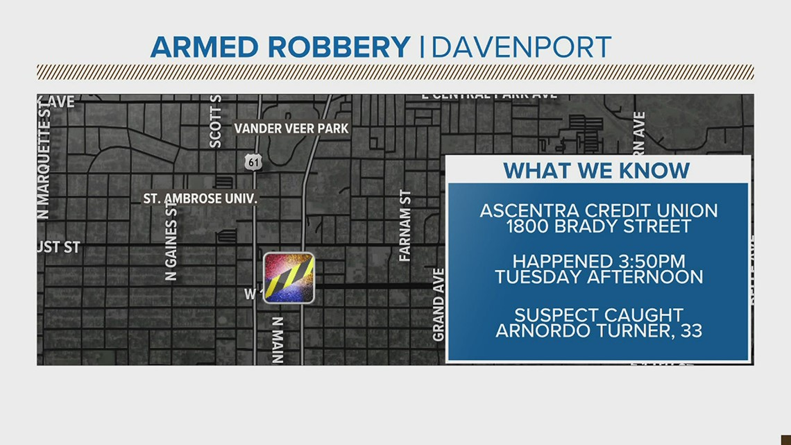 Davenport man arrested after credit union robbery