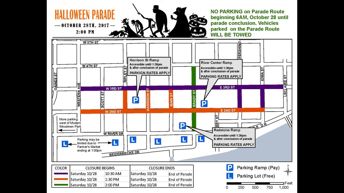 Davenport Halloween Parade 2020 Street Closures Which roads will be closed for Davenport's Halloween parade | wqad.com
