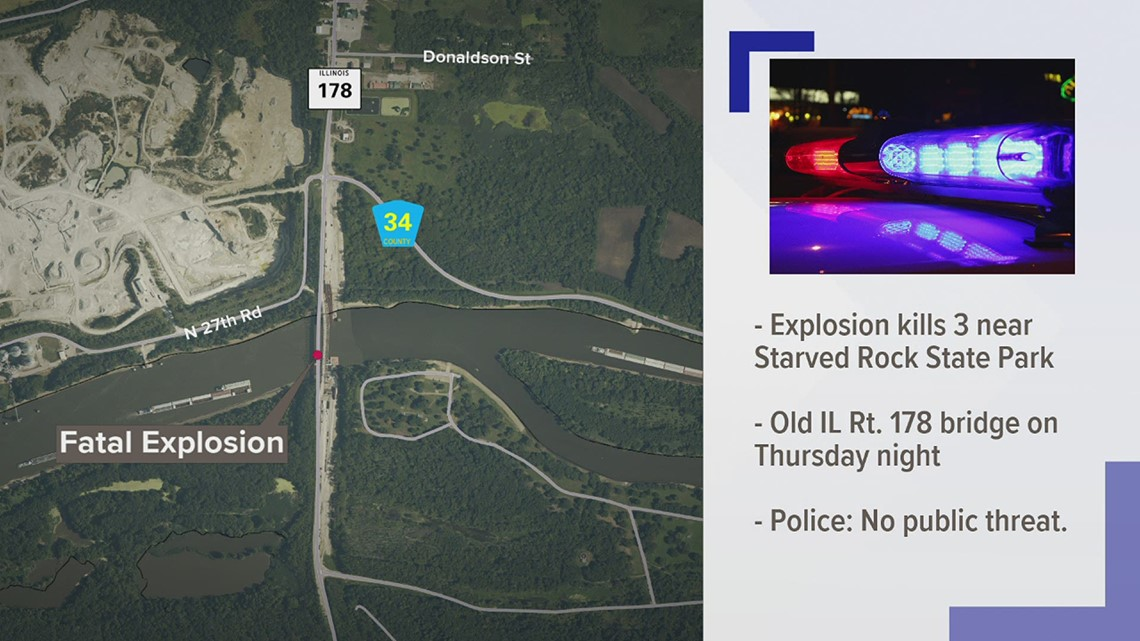 Three killed in explosion along Illinois River north of Starved Rock State Park