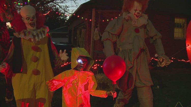 Rock Falls man decorates parent's front lawn with dozens of Halloween characters