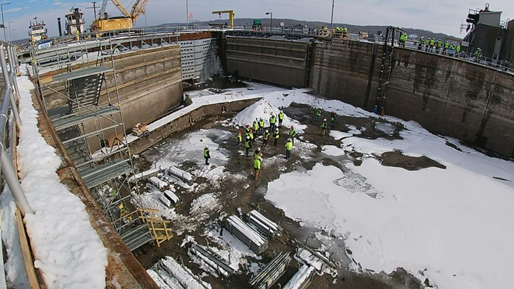 Rare glimpse at the Mississippi River bottom at Lock & Dam 14 as Army Corps of Engineers performs scheduled maintenance
