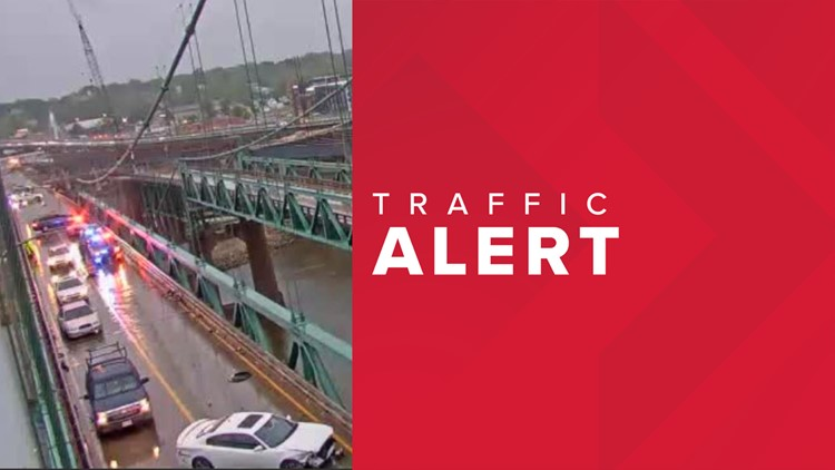 Traffic stopped on old I-74 bridge due to accident
