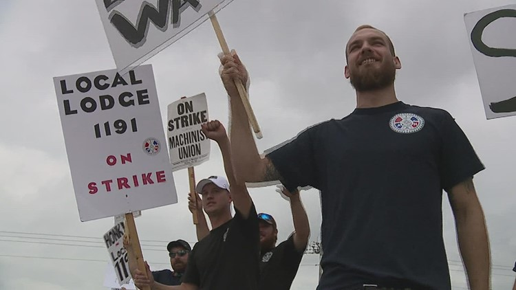 Union workers strike outside Kone's Coal Valley facility