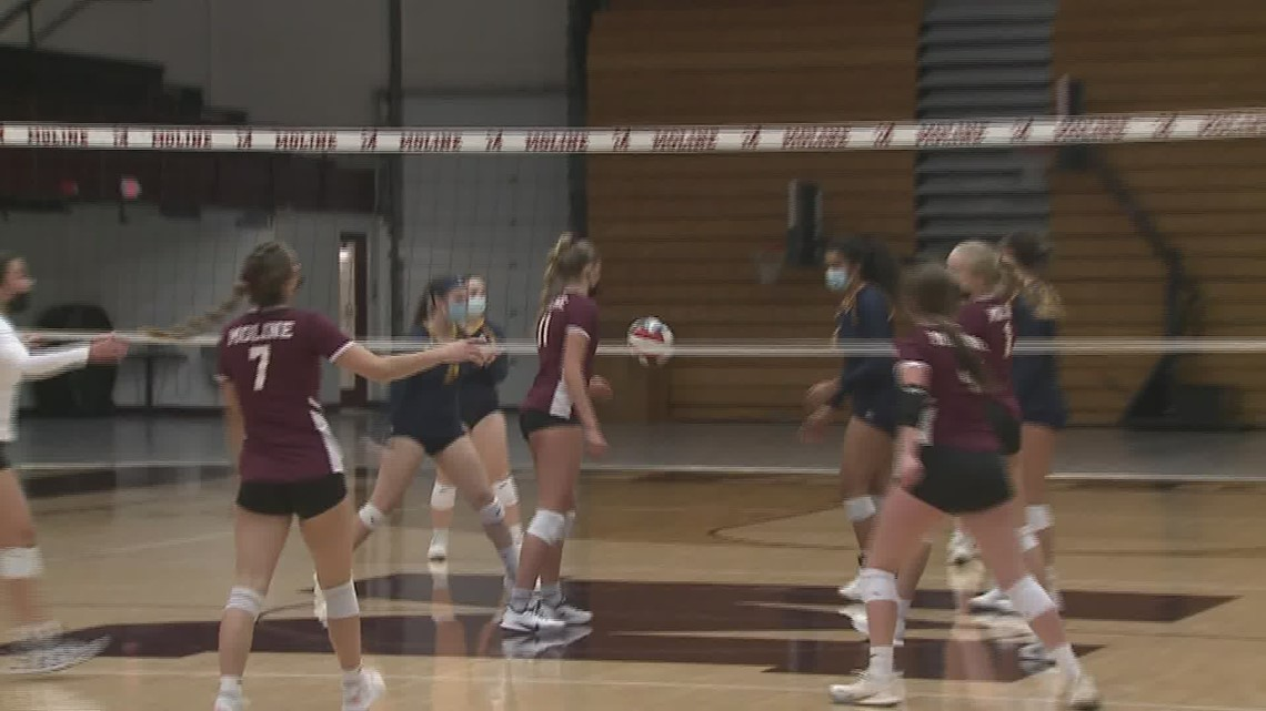 Moline holds serve over Sterling in volleyball