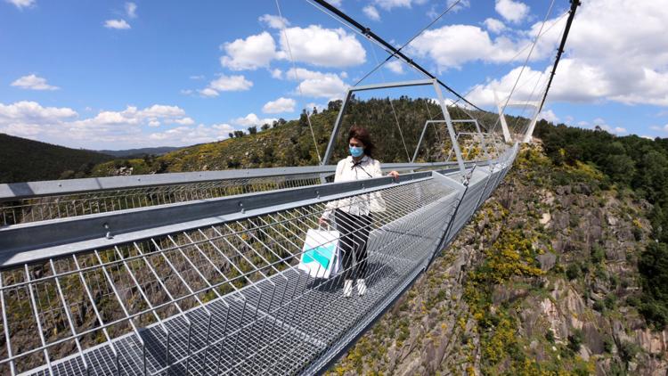 World's longest pedestrian suspension bridge opens in Portugal