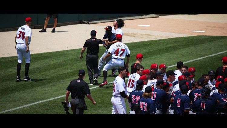 Benches cleared after Indians player hit in the back of the helmet