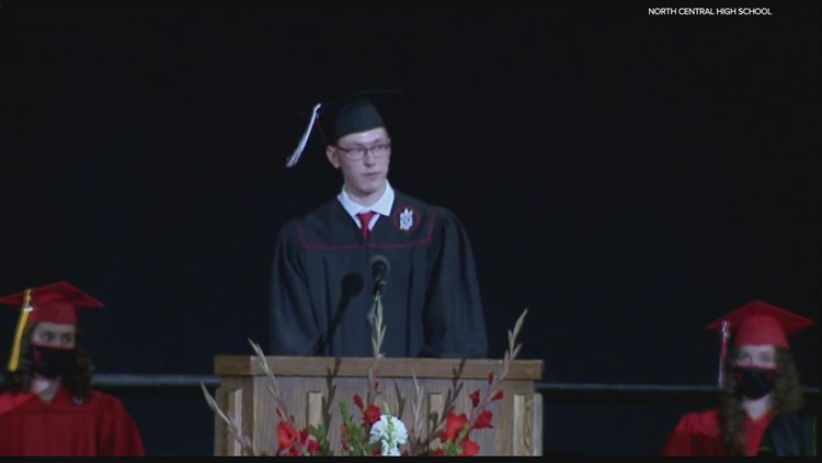 North Central graduate with autism inspires crowd with commencement speech