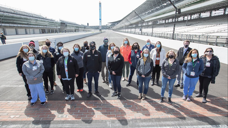 Frontline health care workers enjoy a different kind of race at IMS ahead of next vaccination clinic
