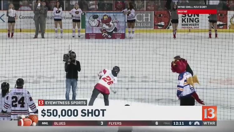 Teen scores $50,000 shot in Indy Fuel's 'Shoot the Puck'