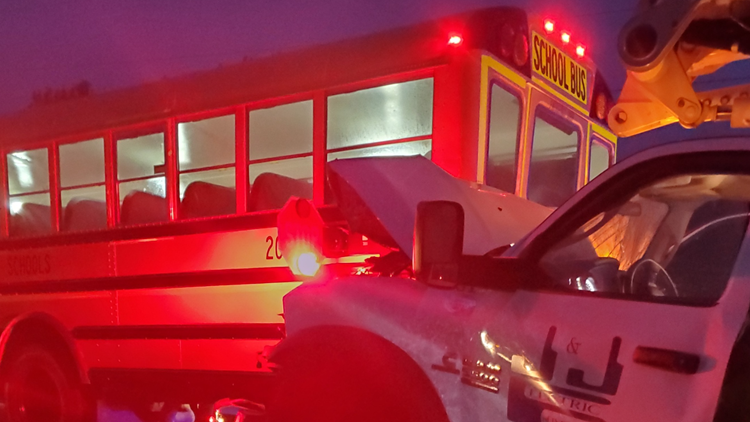 Truck collides with Cass County school bus
