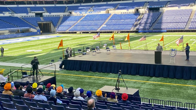 Sikh community holds memorial at Lucas Oil Stadium to honor eight FedEx shooting victims