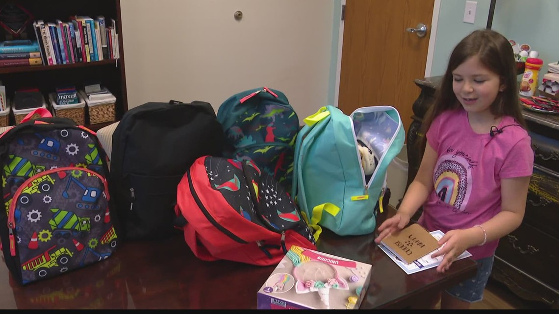 Mother-daughter duo collecting supplies for children in need