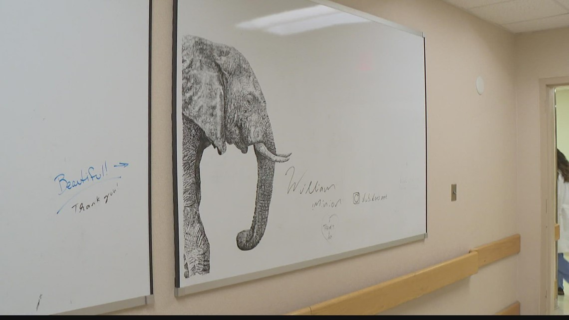 Unexpected whiteboard art at Indianapolis hospital inspires staff