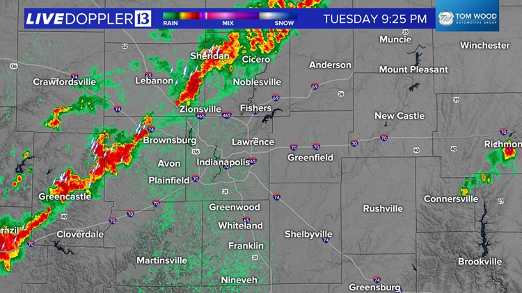 Storms arrive in the Indy metro area, will linger for several hours