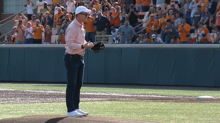 Bringing the heat: Peyton Manning fires perfect first pitch at Tennessee baseball game